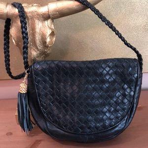 Ganson Vintage Black Leather Shoulder Bag